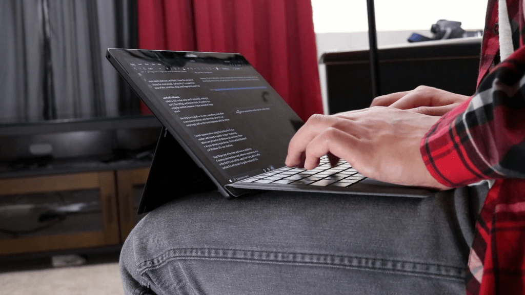 Typing on Surface Pro 7