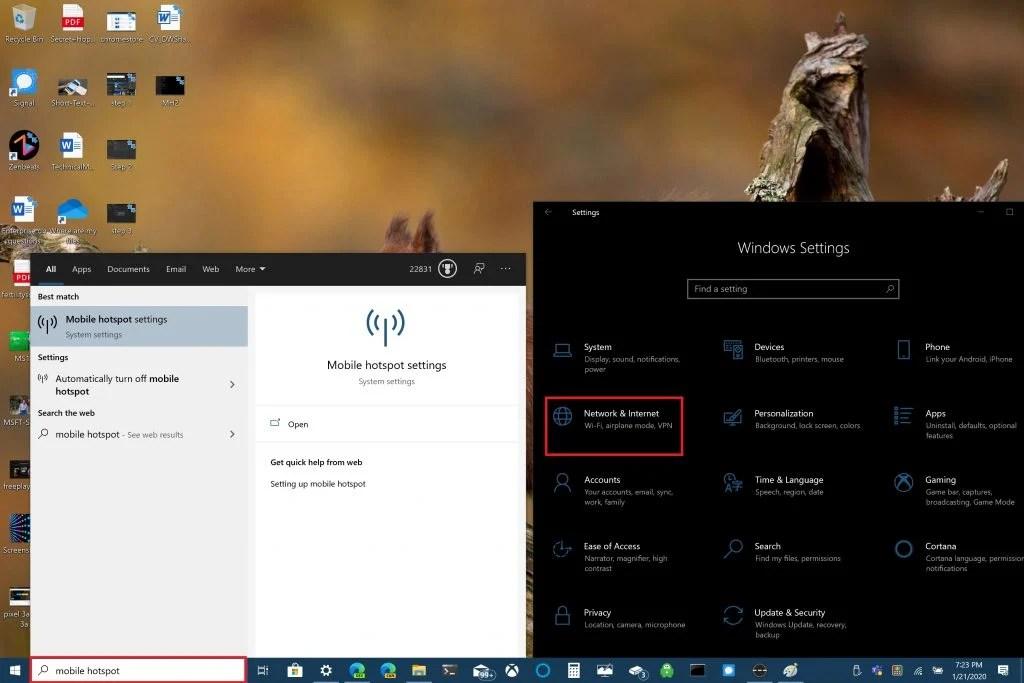 Microsoft, Windows 10, Mobile hotspot