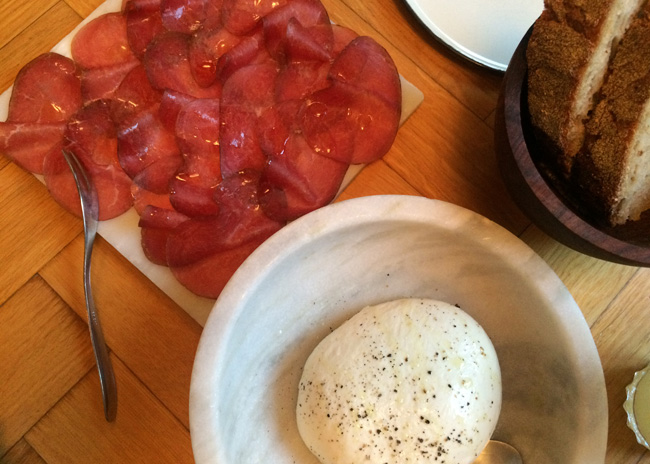 House-made burrata and bresaola at Baest