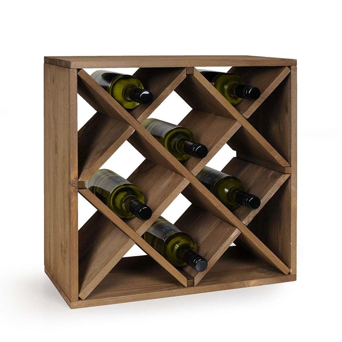 casier a bouteilles en bois empilable
