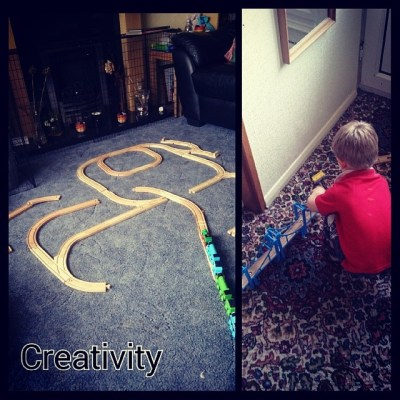 Creativity - watching Sqk make his own railway tracks #100HappyDaysChallenge