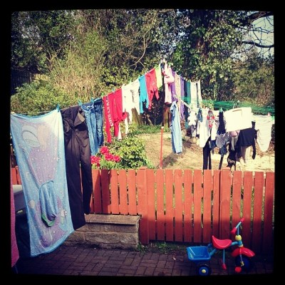 2 loads of washing hung out. Caught up finally....