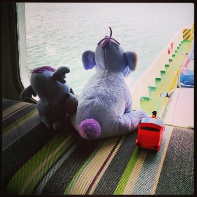 Little Ellie, Big Ellie & James watching crossing of Southampton Water #isleofwight