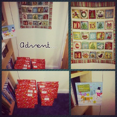 #PhotoGrid One spoilt Sqk. Three advent calendars - his reusable one, books & chocolate..