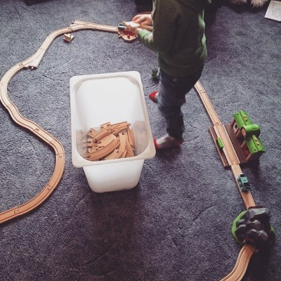 #takingcare100. Day 2 - watching Sqk put his railway together is always good for a smile.