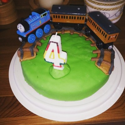 It is Sqk's birthday today and Mummy has made her first attempt at a birthday cake.