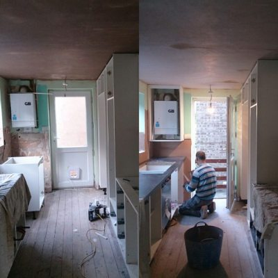 Yesterday to today #newkitchen Plasterer has to finish today hence stillworking