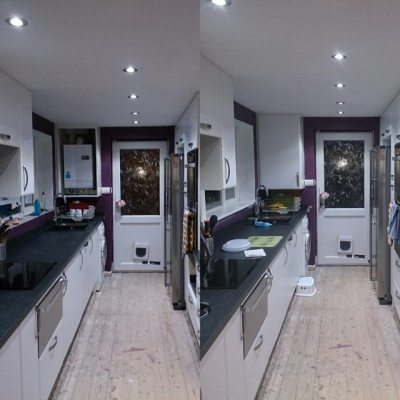 Tuesday to today #newkitchen. Boiler in cupboard, plinths in & windowsills done.