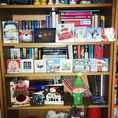 Sqk has more cards than Daddy & I combined. Thanks to being at school. Had to put them on shelves as would mean no more space on our string...