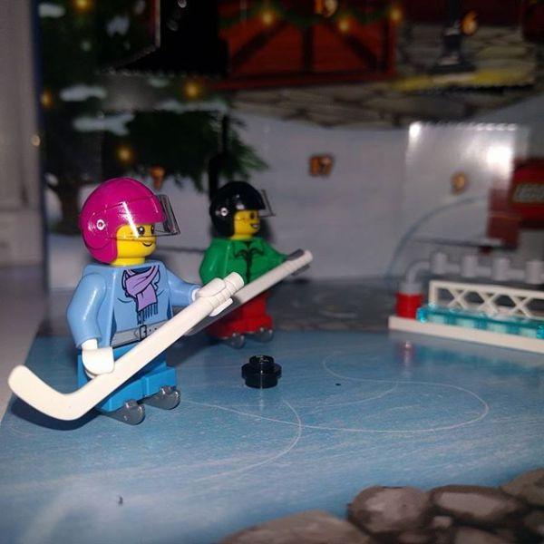 #legocityadvent. Day 10: girl hockey player joining boy hockey player on the ice...