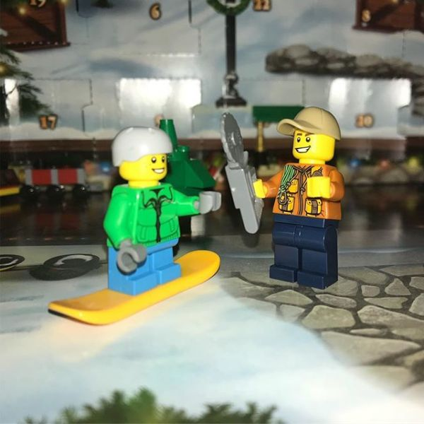 Today in #legocityadvent snowboard boy is joined by chainsaw man