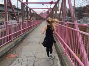 Running over the Williamsburg bridge from the Lower East Side into Brooklyn