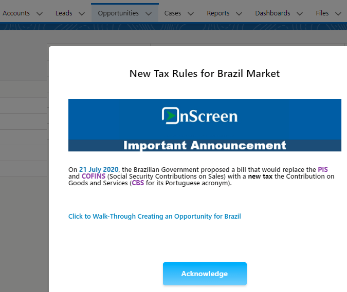 Onscreen Announcement Example