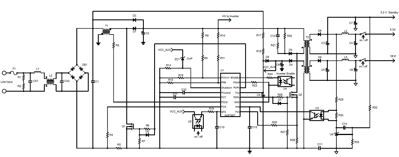 NCP1927: PFC and Flyback Controller for Flat Panel TVs