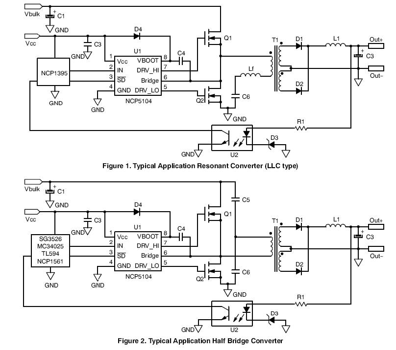 NCP5104: Single Input High and Low Side Power MOSFET Driver