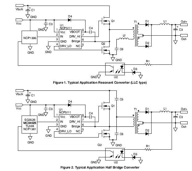 NCP5111: Power MOSFET / IGBT Driver, Single Input, Half-Bridge
