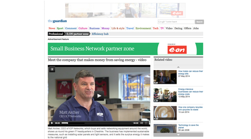 ICP Networks are interviewed by The Guardian about their eco friendly building. dubbed the 'Greenest IT HQ in Britain'