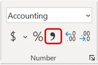Comma Style in the Number Group