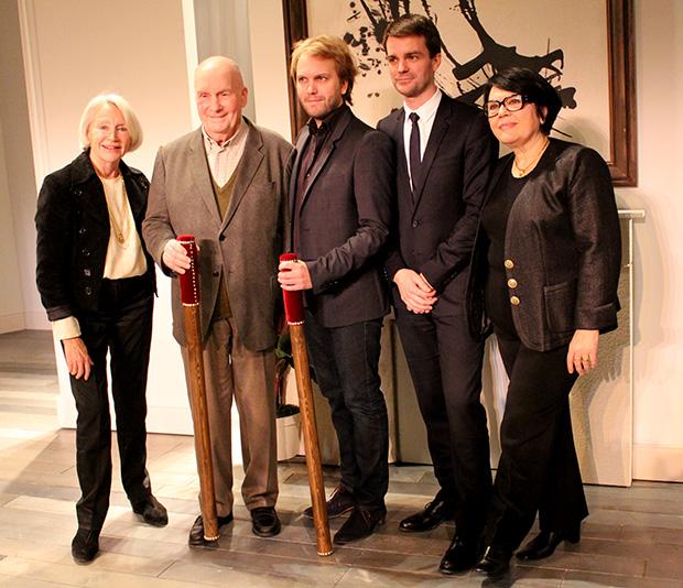 de gauche à droite : Marie France Mignal, Michel Bouquet, Florian Zeller, Bruno Julliard et Danielle Mathieu-Bouillon