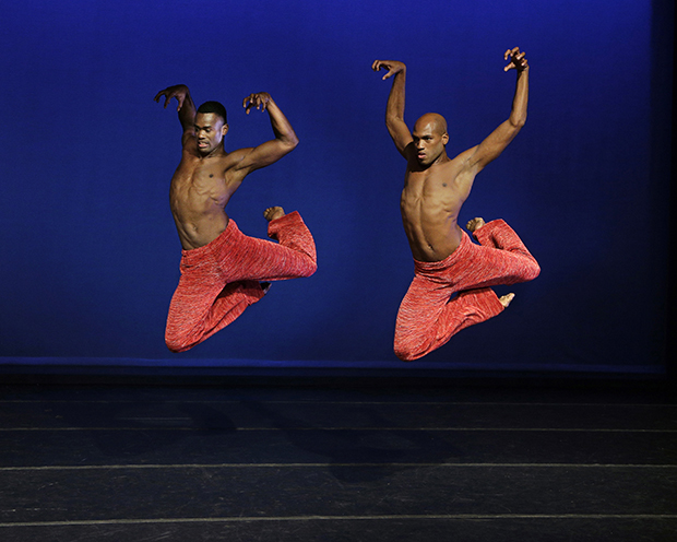 Antonio Douthit and Jamar Roberts in Strange Humors Choreography by Robert Battle  Alvin Ailey American Dance Theater Credit Photo: Paul Kolnik studio@paulkolnik.com