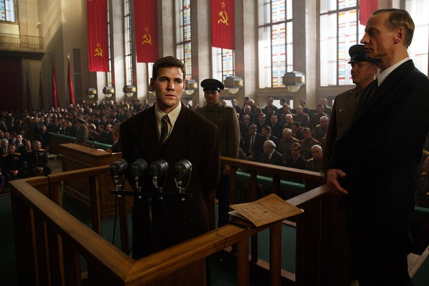 in DreamWorks PIctures/Fox 2000 PIctures' dramatic thriller BRIDGE OF SPIES, directed by Steven Spielberg, Francis Gary Powers (Austin Stowell) is an American U-2 pilot shot down over the Soviet Union.