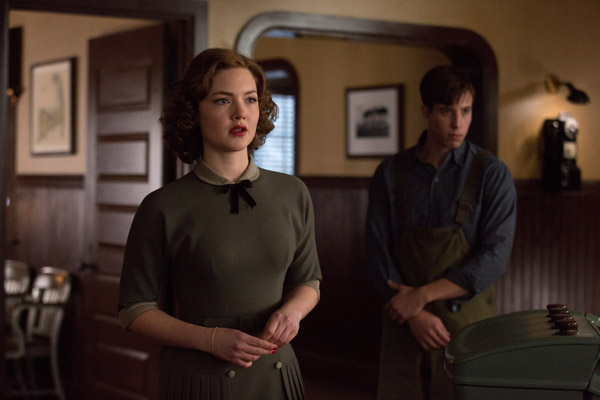 Holliday Grainger is Miriam and Beau Knapp is Mel Gouthro in Disney's THE FINEST HOURS, a heroic action-thriller based on the extraordinary true story of the most daring rescue in the history of the Coast Guard.