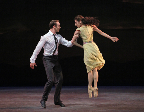 Tiler Peck (in yellow) and Tyler Angle in Estancia Choreography by Christopher Wheeldon New York City Ballet World Premiere 5/29/10 Credit Photo: Paul Kolnik/New York City Ballet ©2010 Paul Kolnik Paul Kolnik Studio 212.362.7778 studio@paulkolnik.com www.paulkolnik.com
