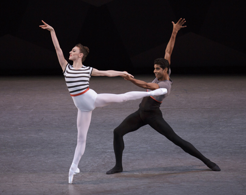 Tiler Peck and Amar Ramasar in Everywhere We Go Choreography by Justin Peck Music by Sufijan Stevens New York City Ballet Credit Photo: Paul Kolnik studio@paulkolnik.com nyc 212-362-7778