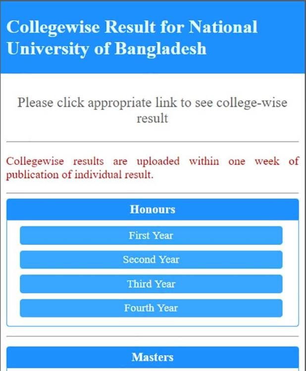 College wise result nu th year result