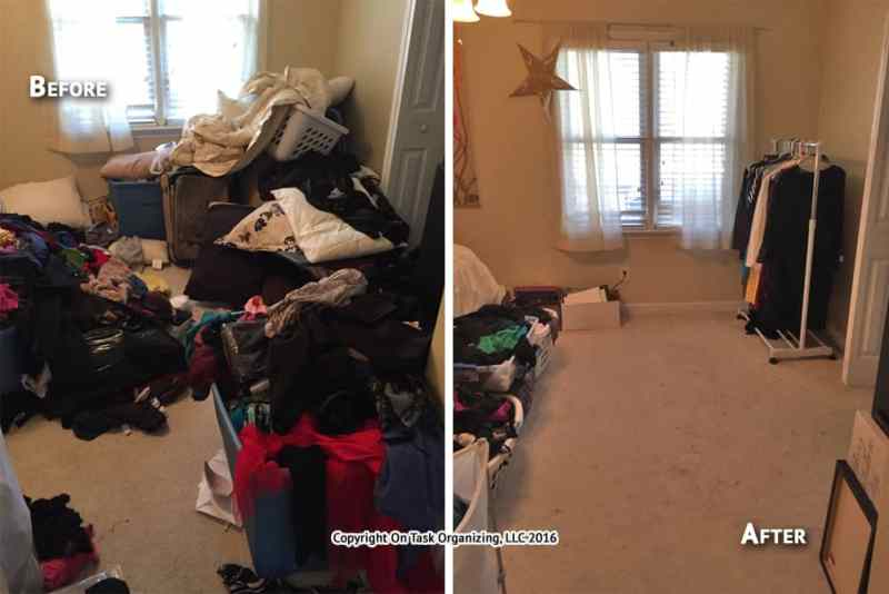 before and after photos of a woman's bedroom organized by On Task Organizing, LLC