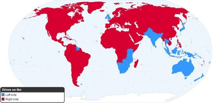 اماكن مقاعد القيادة في السيارات ..اليمين- احمر .. اليسار-ازرق