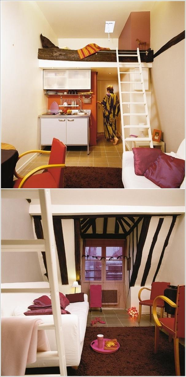 مساحة صغيرة تم تصميمها بسرير مرتفع وغرفة معيشة ومطبخ وحمام!