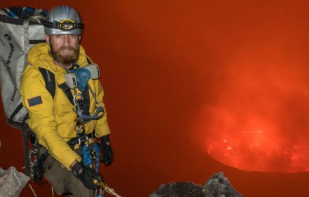 Aldo Kane on a descent into the crater.