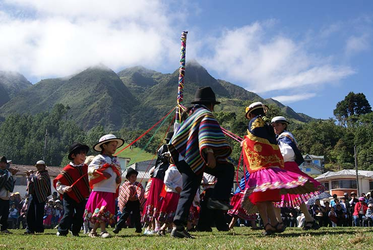 Inti Raymi celebrations includes lots of dancing and music performances in colourful costumes. Photo credit: Junior Cordova