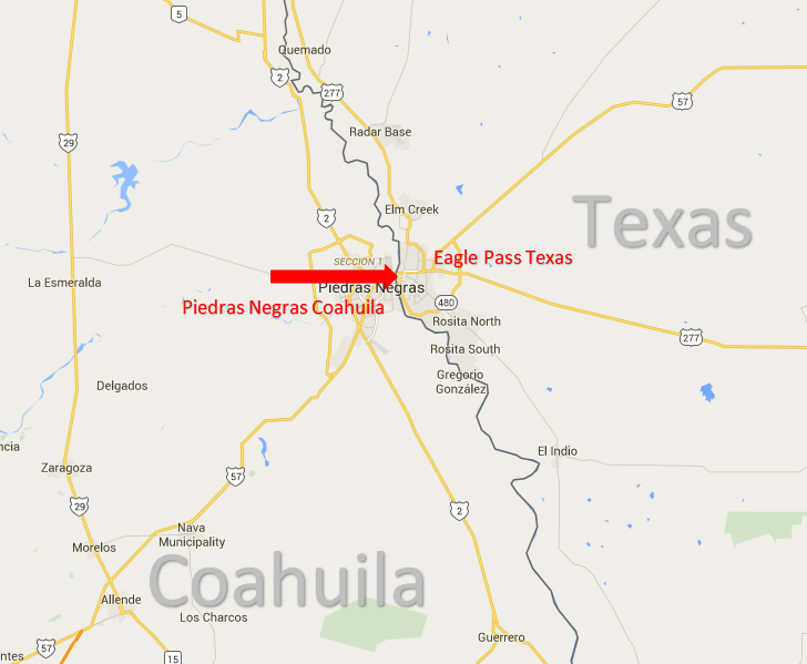 Map Of Texas Border Towns.Eagle Pass Texas Piedras Negras Coahuila Border Crossing