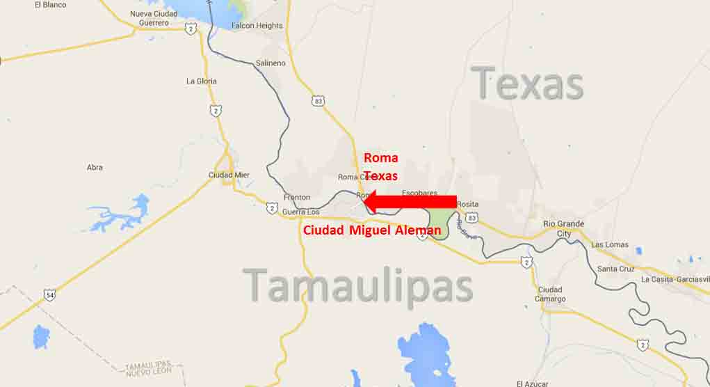 Roma, Texas – Ciudad Miguel Aleman, Tamaulipas Border Crossing – On ...