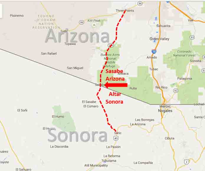 Map Of Arizona To Mexico.Sasabe Arizona Altar Sonora Border Crossing