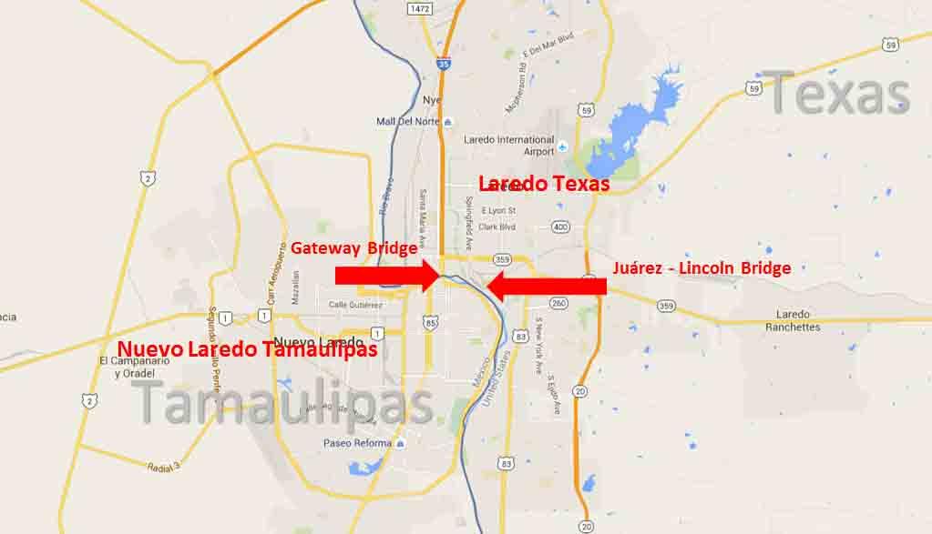 Map Of Texas Border Towns.Laredo Texas Nuevo Laredo Tamaulipas Border Crossing
