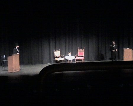 Abraham Lincoln and Frederick Douglass at the Hofstra University pre-debate re-enactment