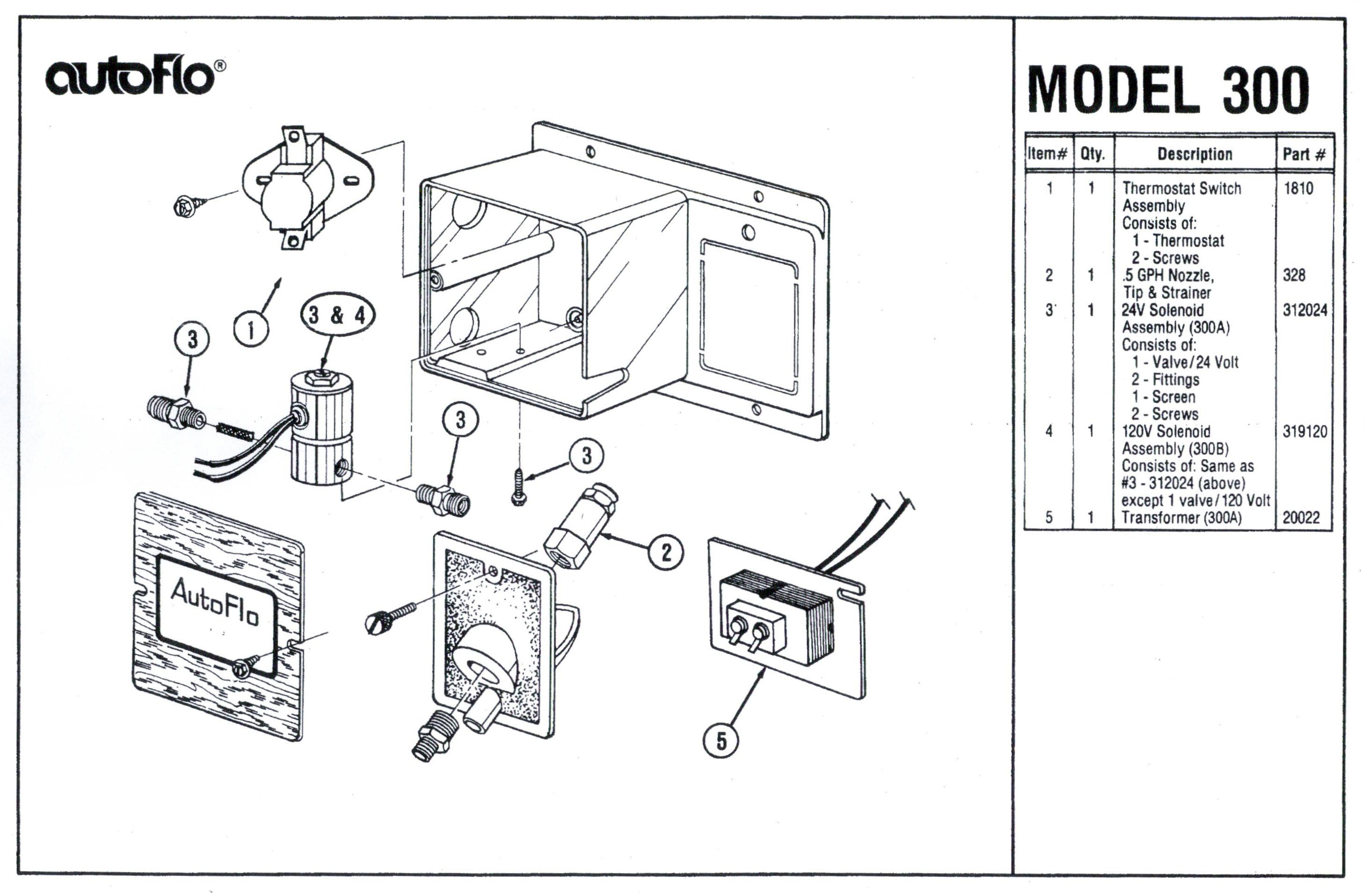 Autoflo 300B Humidifier Parts