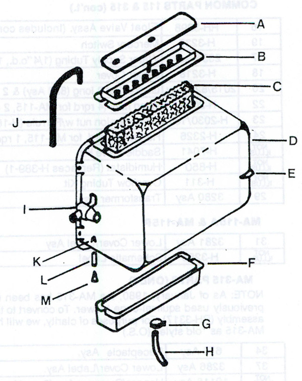 Humid-Aire FH-182 Humidifier Parts
