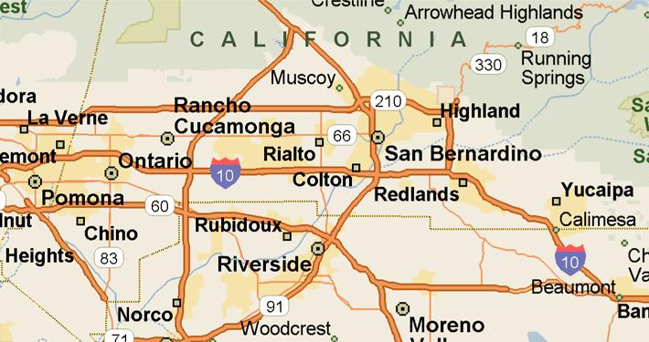 San County Area Map Bernardino Almanac