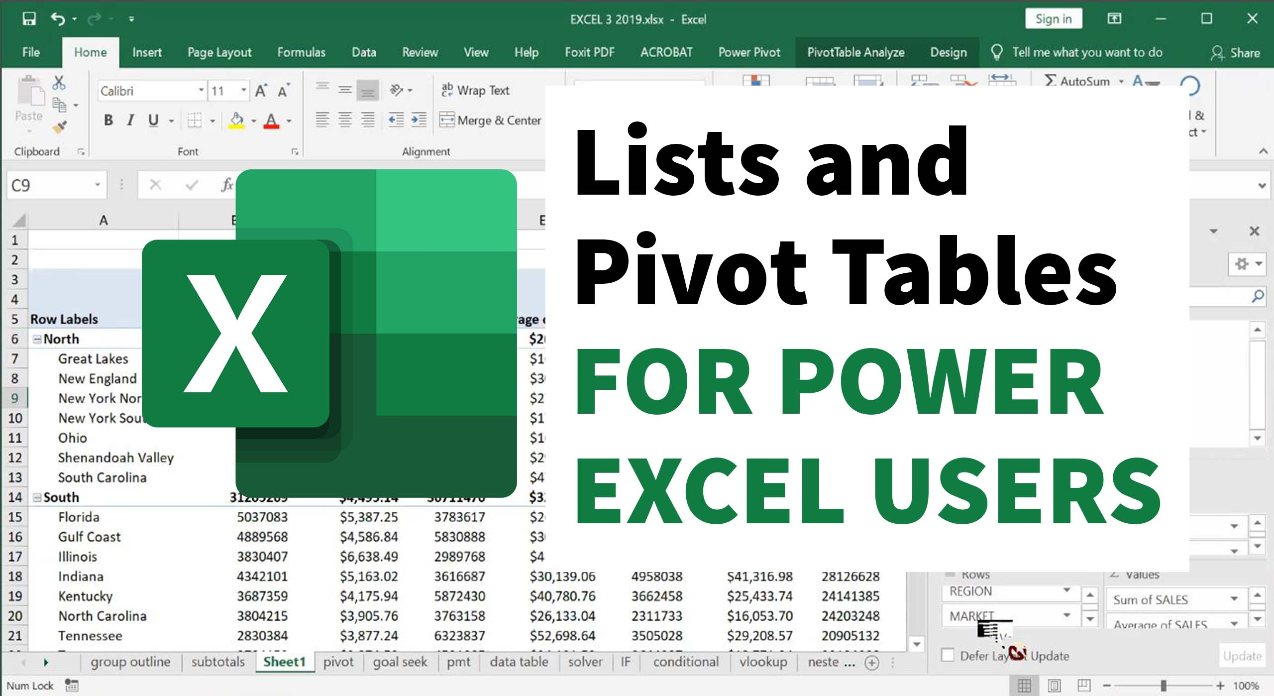 Lists and Pivot Tables for Power Excel Users