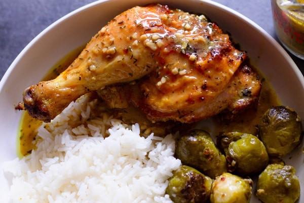 Lemon pepper roast chicken plated