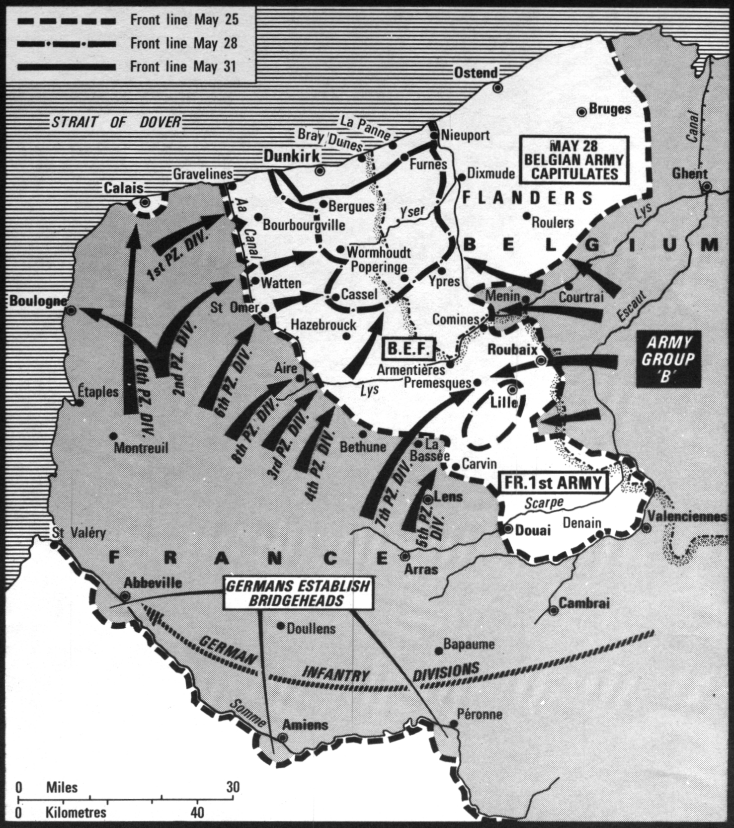 Map Of The Retreat To Dunkirk Battle Of France May 25 31