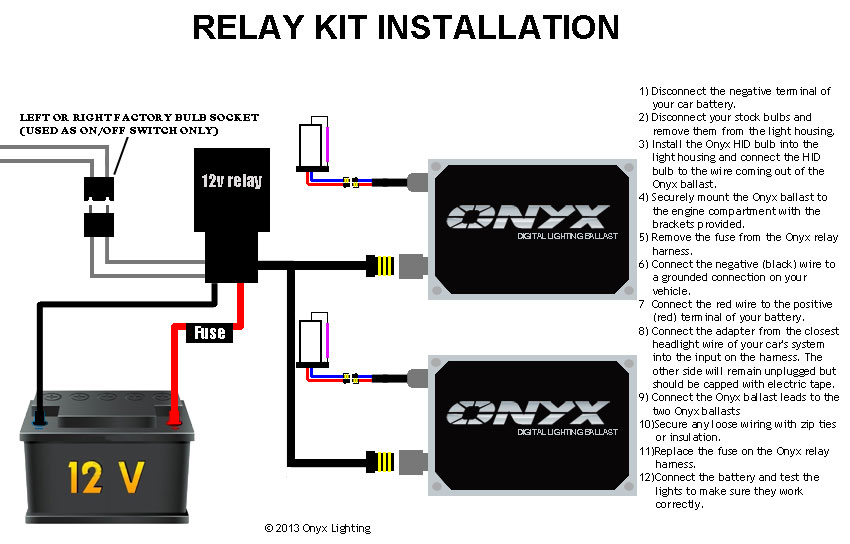 club car headlight wiring diagram residential diagrams your home relay hid conversion kit installation guide - single filament with | onyx performance lights