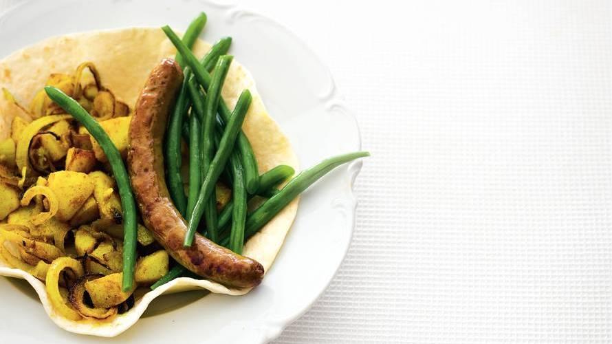Roti met lamsworst en sperziebonen