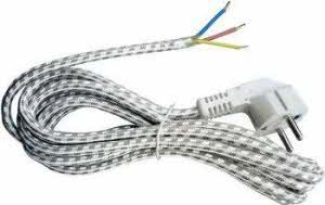 3 meter omvlochten strijkboutsnoer wit/grijs met witte haakse stekker