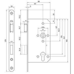 MAUER 8035 PZW 60MM RVS LS/RSVOORPLAAT235X20MM-U-ROESTVRIJSTAAL