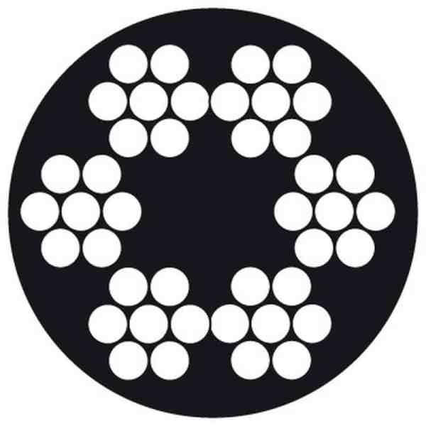 STAALKABEL 6X7 + 1TWK  3- 4 MM VERZINKT PVCOMMAN